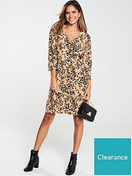 warehouse-floral-leopard-shirt-dress-tan