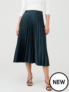 warehouse-satin-pleated-midi-skirt-dark-green