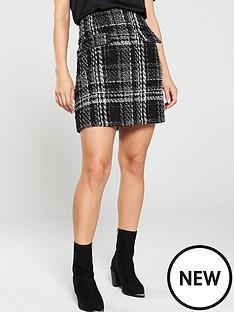 warehouse-sparkle-check-tweed-mini-skirt-mono