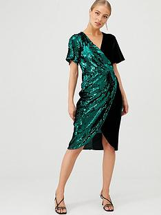 v-by-very-sequin-and-velvet-wrap-dress-forest
