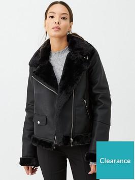 warehouse-faux-fur-bonded-biker-coat-black