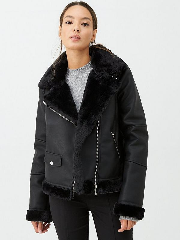Women's Bonded Faux Fur Faux Leather Biker Jacket Fur Lined Smart Dressy Coat