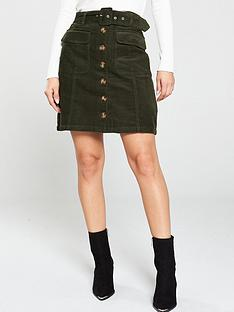 warehouse-belted-cord-mini-skirt-dark-green