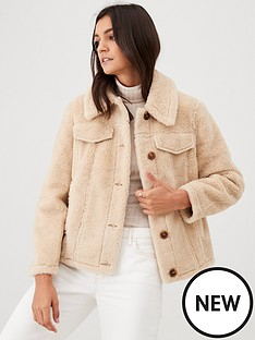warehouse-teddy-coat-cream