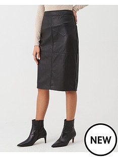warehouse-seamed-detail-pu-midi-pencil-skirt-black