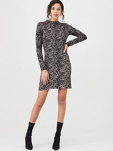 warehouse-animal-print-knitted-dress-grey