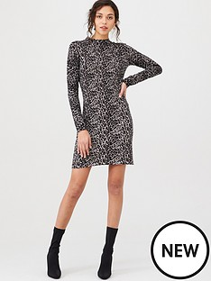 warehouse-animal-print-knitted-dress-grey