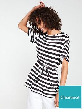 v-by-very-stripe-longline-belted-top-black-white