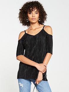 v-by-very-plisse-cold-shoulder-top-black