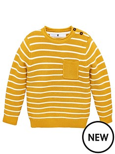v-by-very-boys-striped-pocket-detail-jumper-mustard
