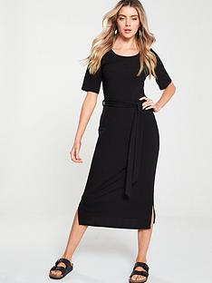 v-by-very-ribbed-belted-midi-dress-black