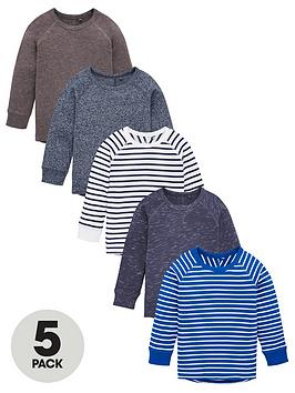 v-by-very-boys-5-pack-long-sleeve-textured-t-shirts-blue