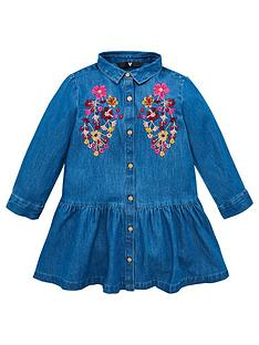 v-by-very-girls-denim-embroidered-frill-hem-shirt-dress-blue