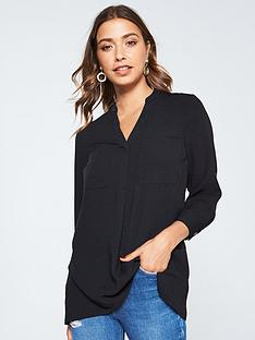 v-by-very-double-pocket-notch-neck-relaxed-blouse-black