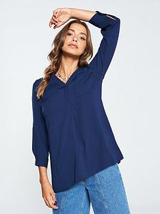 v-by-very-double-pocket-notch-neck-relaxed-blouse-navy