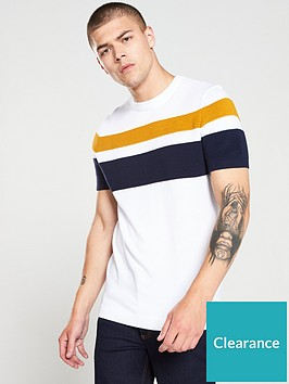 river-island-white-stripe-slim-fit-knitted-t-shirt
