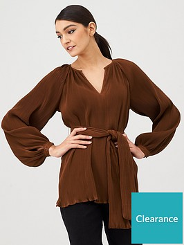 v-by-very-pleated-tie-front-tunic-rust