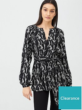 v-by-very-pleated-tie-front-tunic-multi