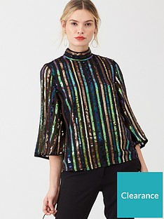 v-by-very-high-neck-sequin-stripe-top-multi
