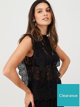v-by-very-sleeveless-lace-frill-sleeve-top-black