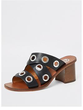 river-island-river-island-leather-eyelet-mule-sandal-black
