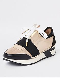river-island-river-island-elasticated-lace-up-trainer-beige