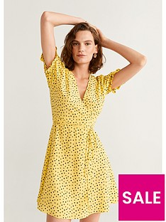 mango-polka-dot-wrap-dress-yellow
