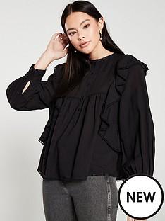 mango-ruffled-embroidered-blouse-black