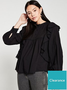 mango-ruffled-embroidered-blouse-black
