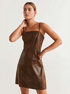 mango-pu-snake-print-dress-brown