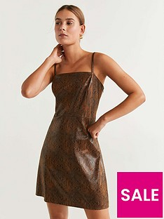 mango-pu-snake-print-dress-brown