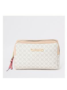 river-island-river-island-monogram-make-up-bag-beige