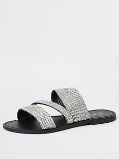 river-island-river-island-heatseal-sparkle-flat-sandals-silver