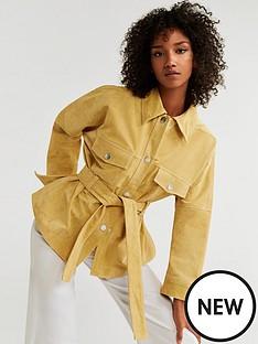 mango-suede-belted-jacket