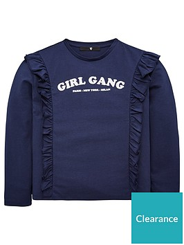 v-by-very-girls-girl-gang-long-sleeve-ruffle-shoulder-top-navy