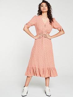 mango-polka-dot-frill-bottom-midi-dress-pink