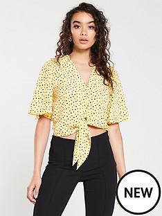 mango-tie-front-polka-dot-blouse-yellow