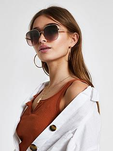 river-island-river-island-square-aviator-sunglasses-brown