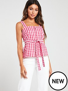 mango-sleeveless-tie-belt-blouse-pink