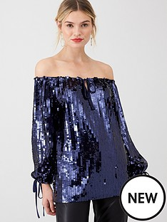 v-by-very-bardot-sequin-blouse-navy