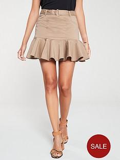 river-island-river-island-belted-frill-mini-skirt-beige