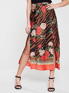 river-island-river-island-floral-zebra-print-midi-skirt--brown