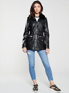 river-island-river-island-pu-belted-faux-fur-collar-utility-jacket-black