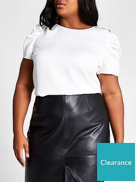 ri-plus-ri-plus-button-detail-woven-t-shirt-white