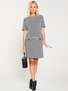 wallis-dogtooth-pocket-dress-blackwhite