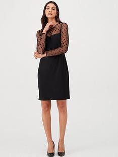 wallis-spot-mesh-insert-dress-black