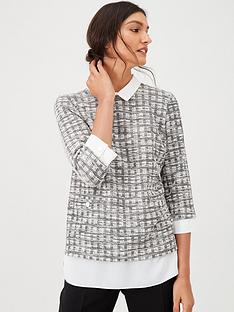 wallis-mini-boucle-2-in-1-blouse-monochrome