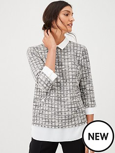 wallis-mini-boucle-2-in-1-blouse-monochrome