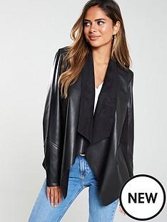 wallis-pu-zip-cuff-waterfall-jacket-black