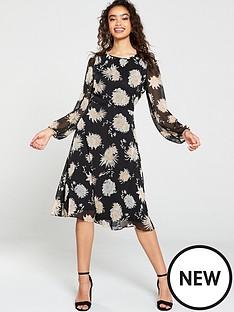 wallis-black-oriental-floral-midi-dress